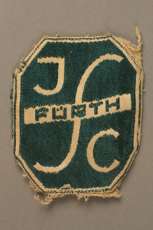 2016.203.3 front Embroidered Fürth patch saved by a British soldier and Kindertransport refugee