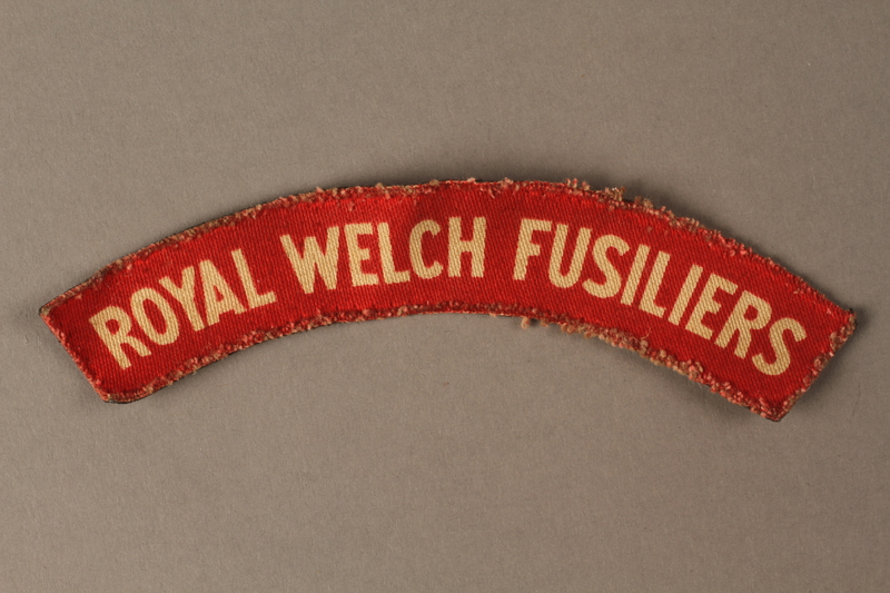 2016.203.5 front Royal Welch Fusiliers shoulder patch worn by a British soldier and Kindertransport refugee