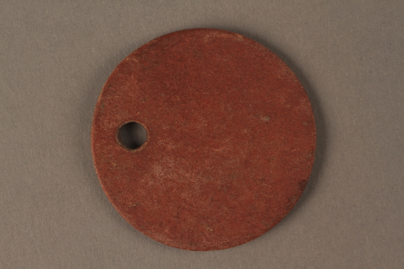 2016.203.9 back Circular identification tag worn by a British soldier and Kindertransport refugee