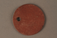 2016.203.9 back Circular identification tag worn by a British soldier and Kindertransport refugee  Click to enlarge
