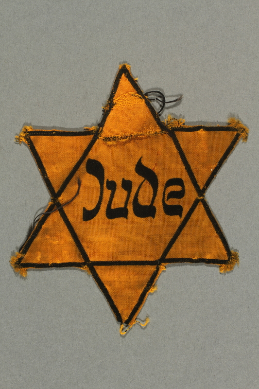 2016.412.2 front Star of David badge with Jude printed in the center