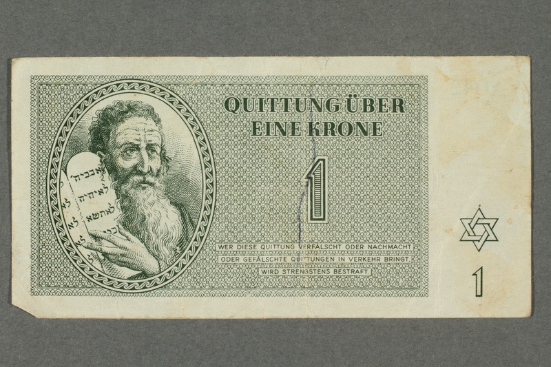 2016.184.813 front Theresienstadt ghetto-labor camp scrip, 1 krone note