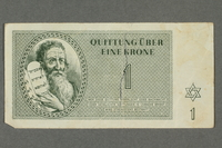 2016.184.813 front Theresienstadt ghetto-labor camp scrip, 1 krone note  Click to enlarge