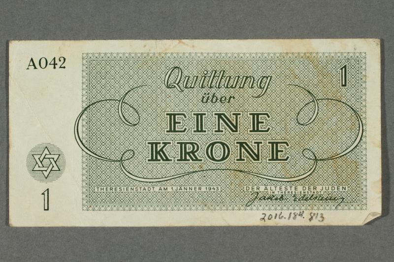 2016.184.813 back Theresienstadt ghetto-labor camp scrip, 1 krone note