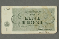 2016.184.813 back Theresienstadt ghetto-labor camp scrip, 1 krone note  Click to enlarge