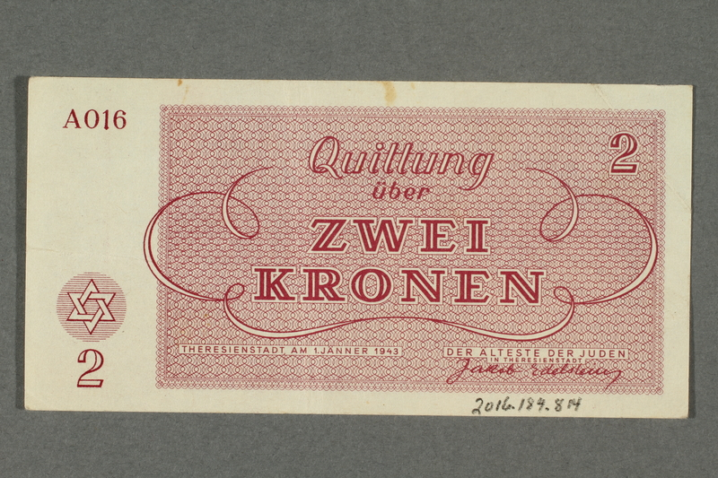 2016.184.814 back Theresienstadt ghetto-labor camp scrip, 2 kronen note