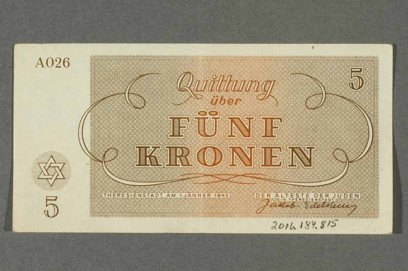 2016.184.815 back Theresienstadt ghetto-labor camp scrip, 5 kronen note