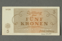 2016.184.815 back Theresienstadt ghetto-labor camp scrip, 5 kronen note  Click to enlarge
