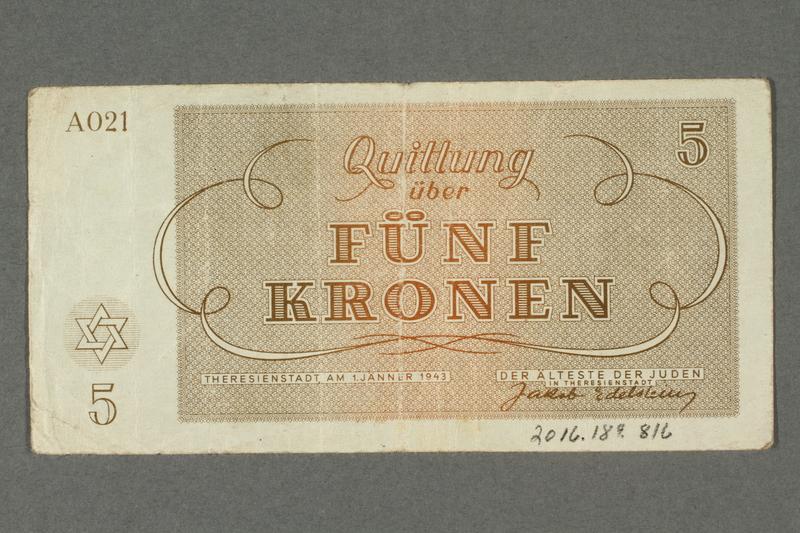 2016.184.816 back Theresienstadt ghetto-labor camp scrip, 5 kronen note