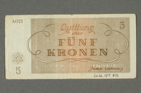 2016.184.816 back Theresienstadt ghetto-labor camp scrip, 5 kronen note  Click to enlarge