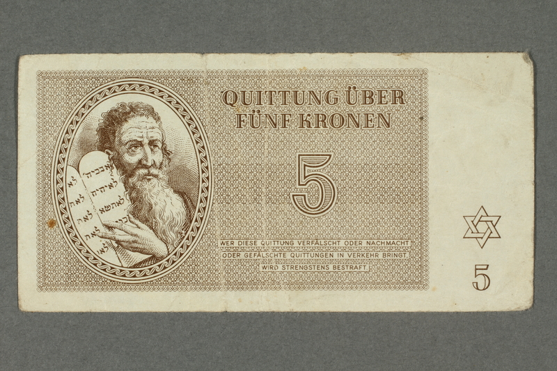 2016.184.817 front Theresienstadt ghetto-labor camp scrip, 5 kronen note