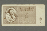 2016.184.817 front Theresienstadt ghetto-labor camp scrip, 5 kronen note  Click to enlarge