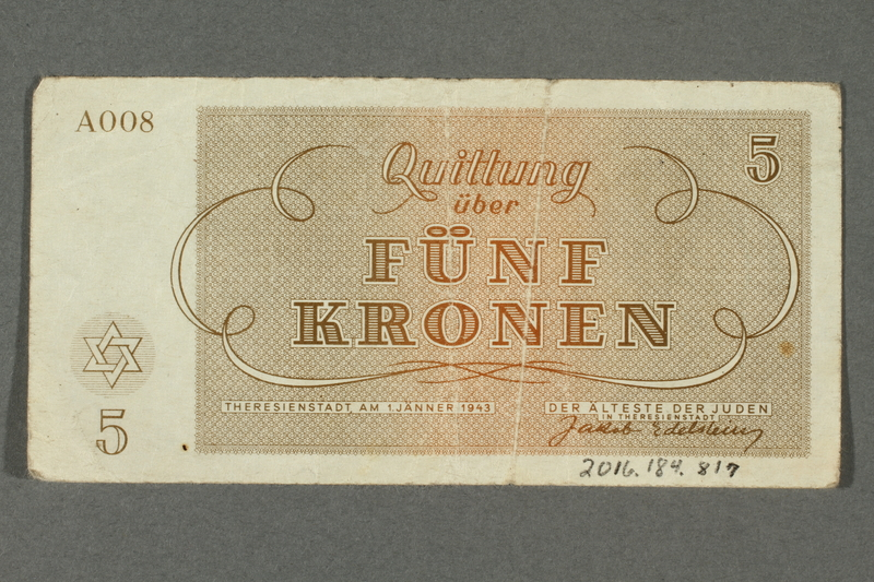 2016.184.817 back Theresienstadt ghetto-labor camp scrip, 5 kronen note