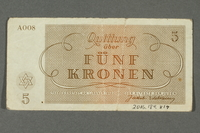 2016.184.817 back Theresienstadt ghetto-labor camp scrip, 5 kronen note  Click to enlarge