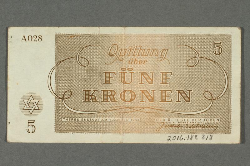 2016.184.818 back Theresienstadt ghetto-labor camp scrip, 5 kronen note