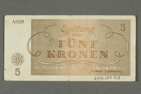 2016.184.818 back Theresienstadt ghetto-labor camp scrip, 5 kronen note  Click to enlarge