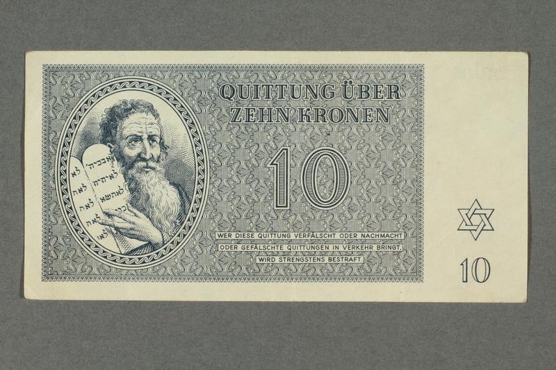 2016.184.819 front Theresienstadt ghetto-labor camp scrip, 10 kronen note
