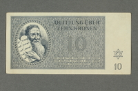 2016.184.819 front Theresienstadt ghetto-labor camp scrip, 10 kronen note  Click to enlarge