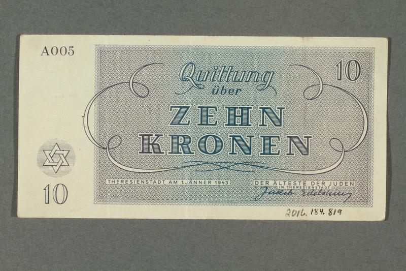 2016.184.819 back Theresienstadt ghetto-labor camp scrip, 10 kronen note