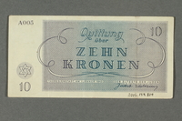 2016.184.819 back Theresienstadt ghetto-labor camp scrip, 10 kronen note  Click to enlarge
