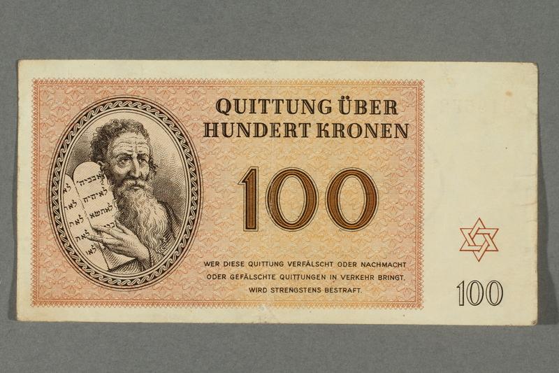2016.184.823 front Theresienstadt ghetto-labor camp scrip, 100 kronen note