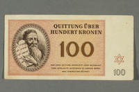 2016.184.823 front Theresienstadt ghetto-labor camp scrip, 100 kronen note  Click to enlarge