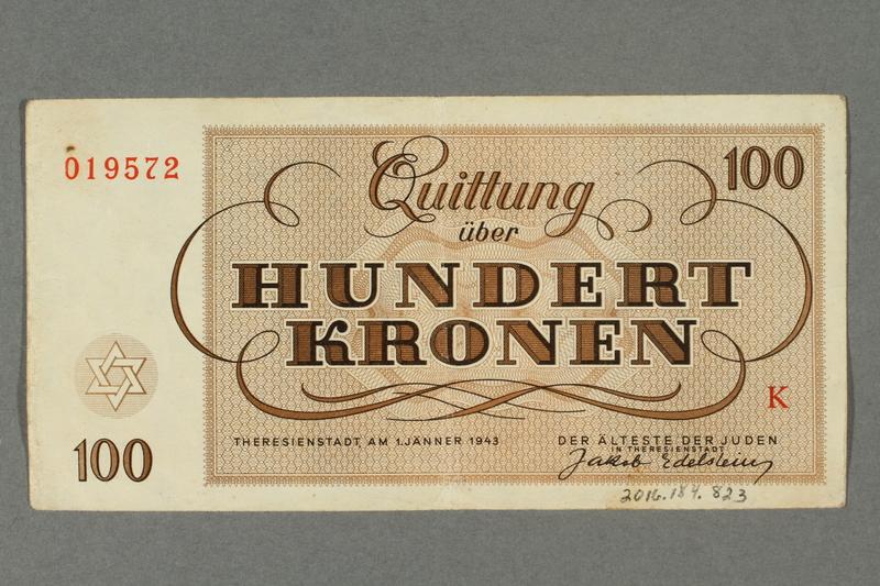2016.184.823 back Theresienstadt ghetto-labor camp scrip, 100 kronen note