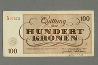 2016.184.823 back Theresienstadt ghetto-labor camp scrip, 100 kronen note  Click to enlarge