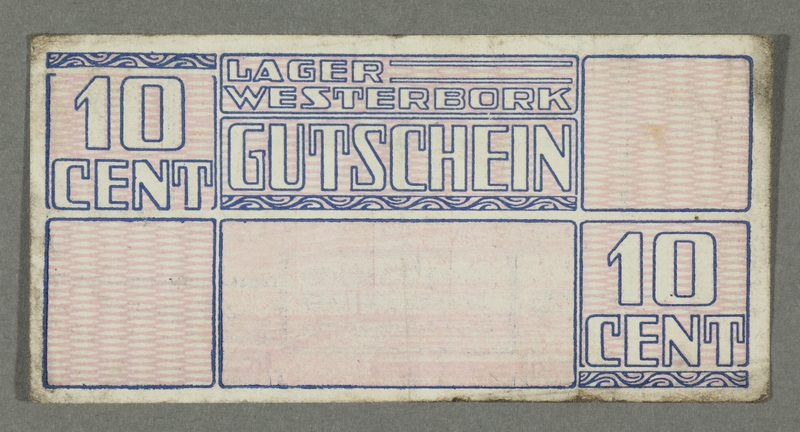 2016.184.824 front Westerbork transit camp voucher, 10 cent note