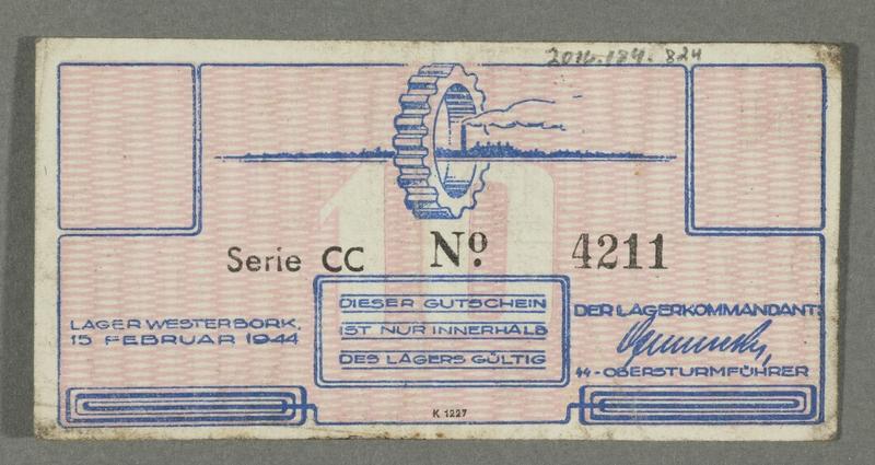 2016.184.824 back Westerbork transit camp voucher, 10 cent note