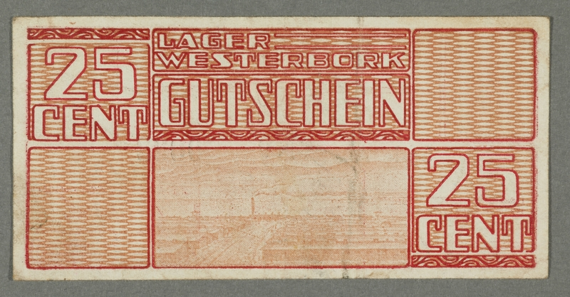 2016.184.825 front Westerbork transit camp voucher, 25 cent note