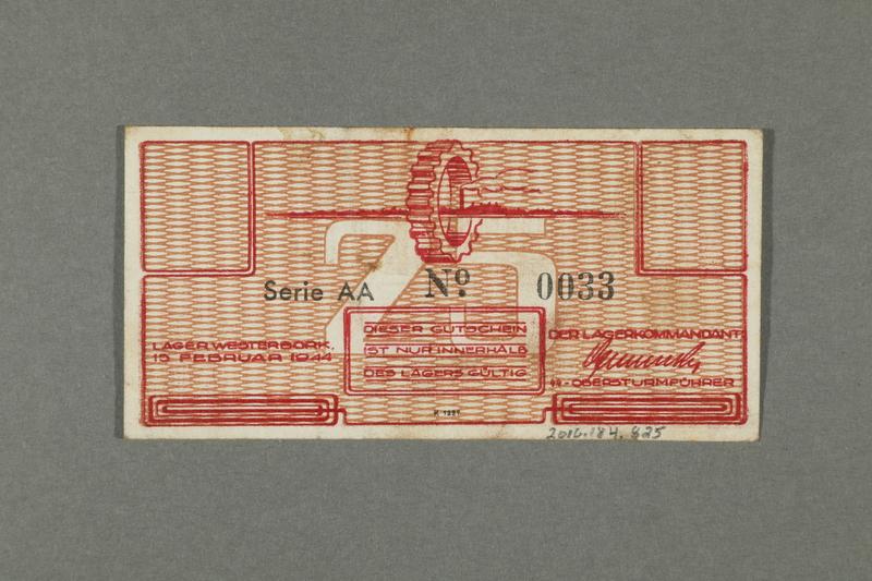 2016.184.825 back Westerbork transit camp voucher, 25 cent note