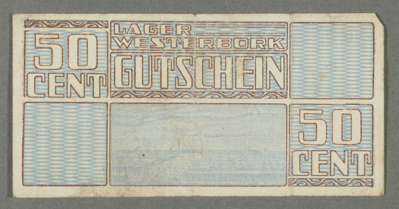 2016.184.826 front Westerbork transit camp voucher, 50 cent note