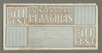 2016.184.826 front Westerbork transit camp voucher, 50 cent note  Click to enlarge