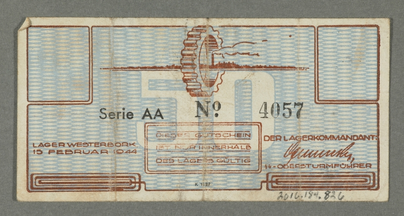 2016.184.826 back Westerbork transit camp voucher, 50 cent note
