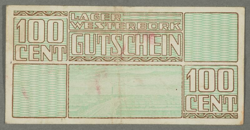 2016.184.827 front Westerbork transit camp voucher, 100 cent note