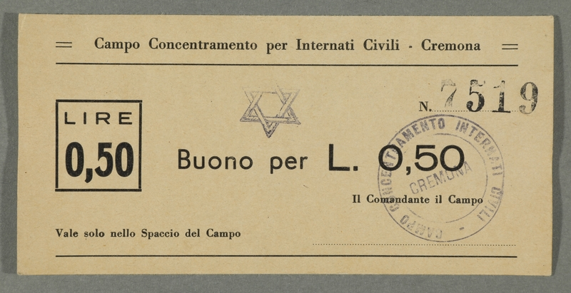 2016.184.828 front Cremona civilian internment scrip, 0.50 lire note, stamped with a Star of David