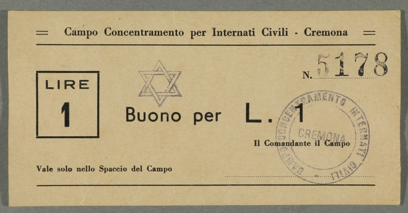 2016.184.829 front Cremona civilian internment scrip, 1 lire note, stamped with a Star of David