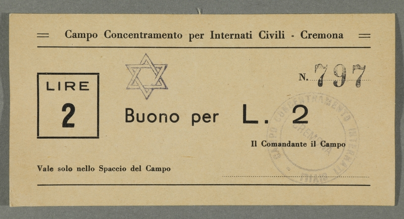 2016.184.830 front Cremona civilian internment scrip, 2 lire note, stamped with a Star of David