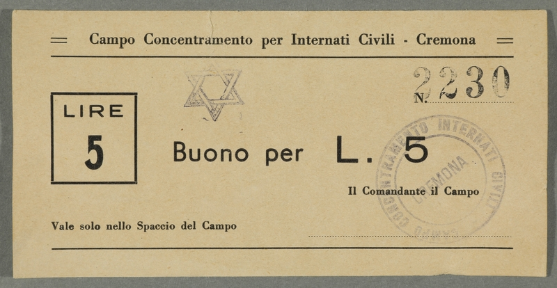2016.184.831 front Cremona civilian internment scrip, 5 lire note, stamped with a Star of David