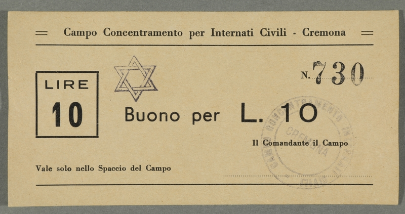 2016.184.832 front Cremona civilian internment scrip, 10 lire note, stamped with a Star of David