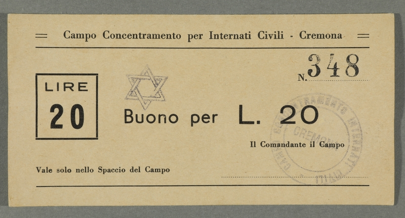2016.184.833 front Cremona civilian internment scrip, 20 lire note, stamped with a Star of David
