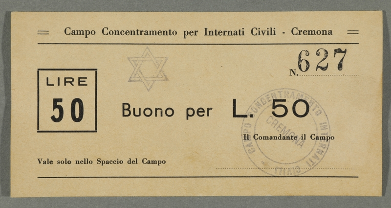2016.184.834 front Cremona civilian internment scrip, 50 lire note, stamped with a Star of David