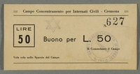 2016.184.834 front Cremona civilian internment scrip, 50 lire note, stamped with a Star of David  Click to enlarge