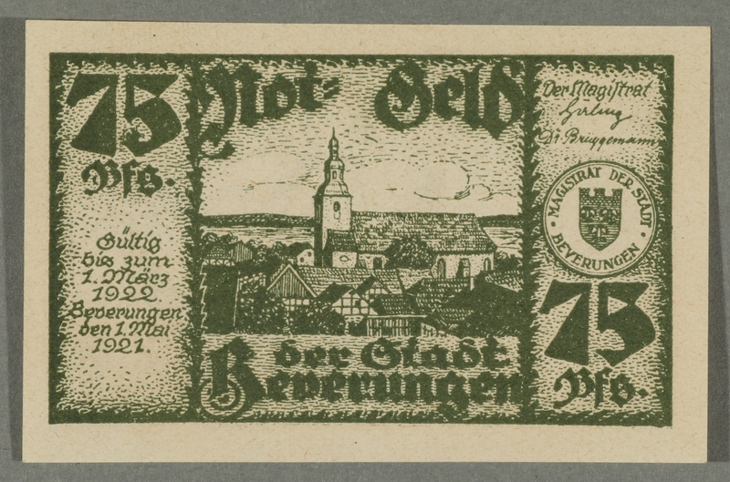 2016.184.843_front Beverungen, emergency currency, 75 pfennigs notgeld, with an anti-Jewish cartoon