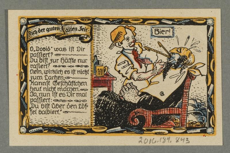 2016.184.843_back Beverungen, emergency currency, 75 pfennigs notgeld, with an anti-Jewish cartoon