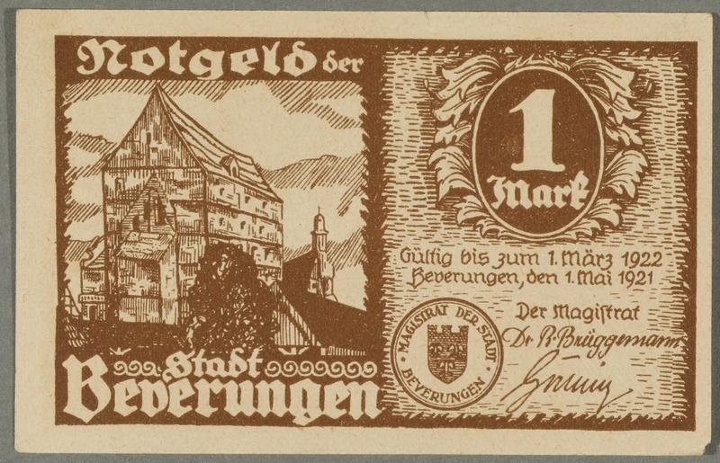 2016.184.844_front Beverungen, emergency currency, 1 mark notgeld, with an anti-Jewish cartoon
