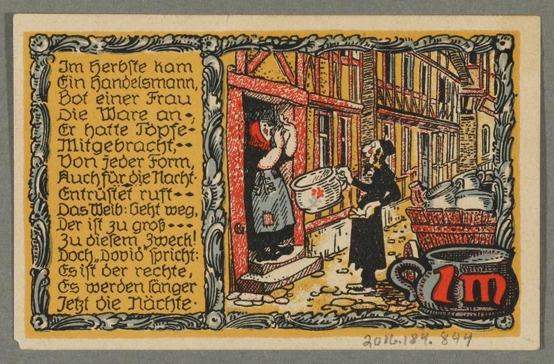 2016.184.844_back Beverungen, emergency currency, 1 mark notgeld, with an anti-Jewish cartoon