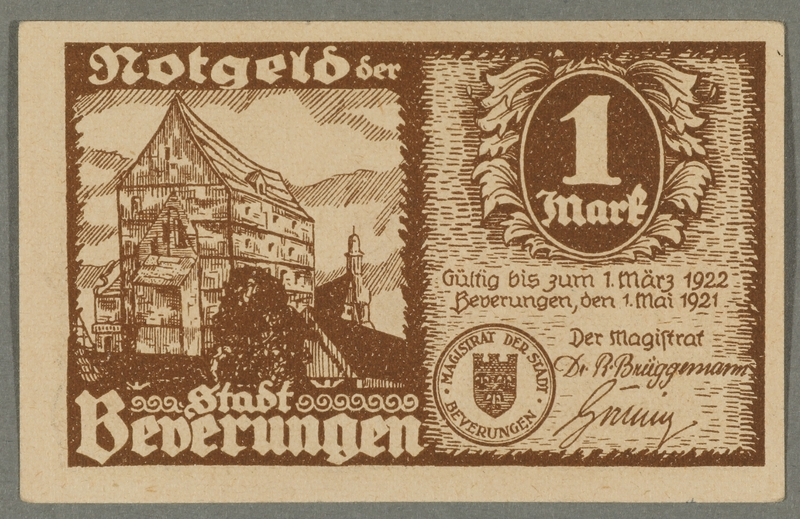 2016.184.845_front Beverungen, emergency currency, 1 mark notgeld, with an anti-Jewish cartoon