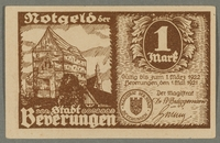 2016.184.845_front Beverungen, emergency currency, 1 mark notgeld, with an anti-Jewish cartoon  Click to enlarge